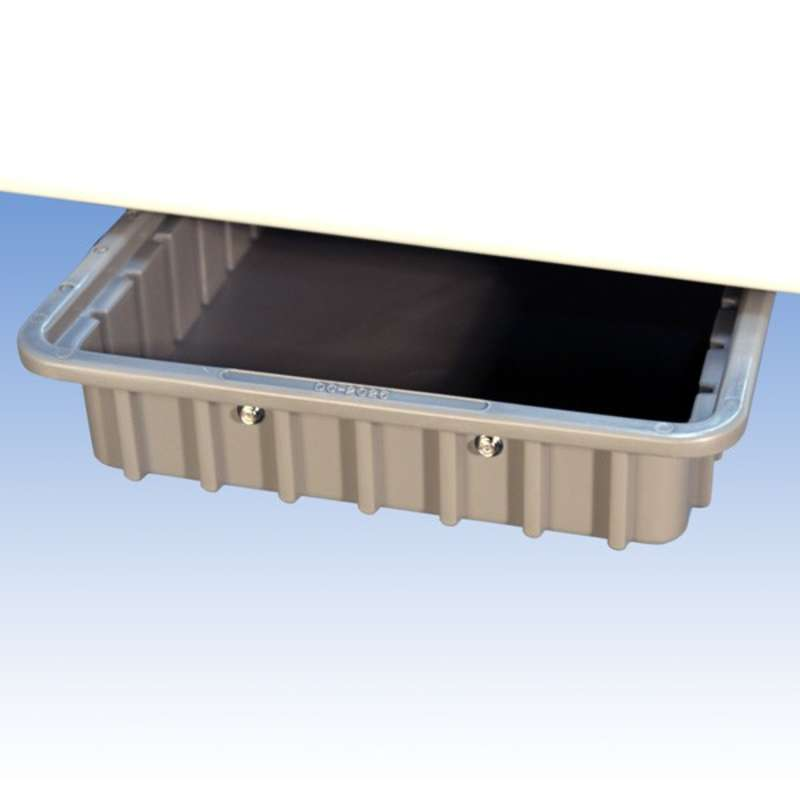 Rail Drawer with Removable Plastic Tote Box for Chemical Resistant Benches, Grey, 16-1/2 x 11 x 2-1/