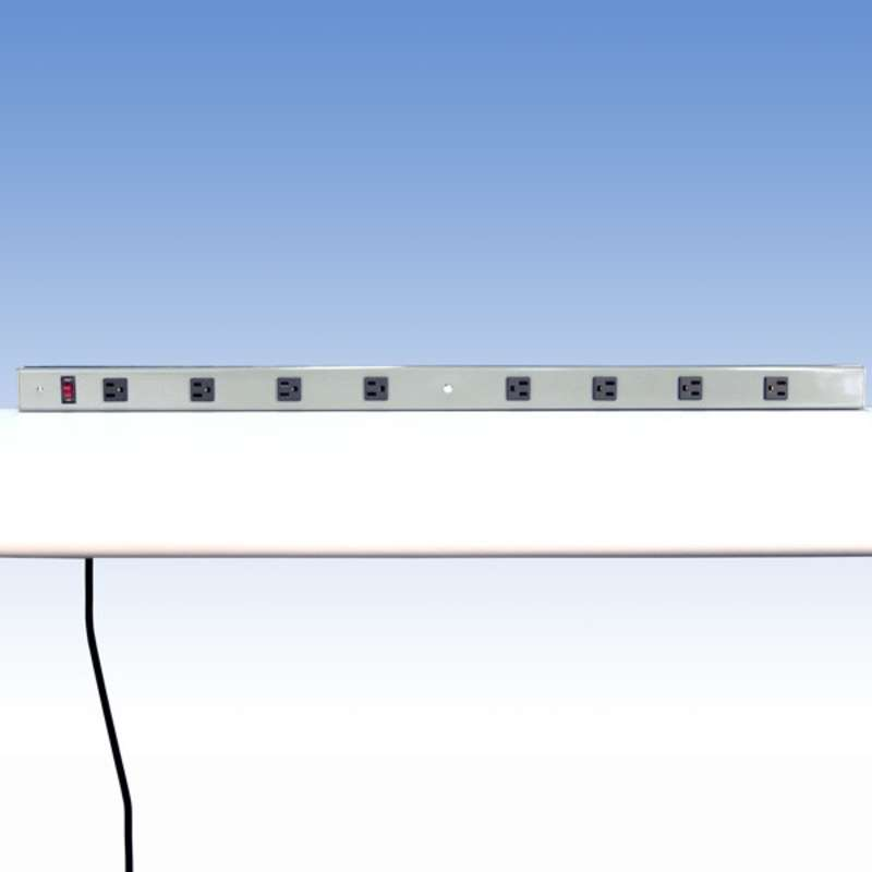"Aluminum Power Strip with 8 Outlets for 72"" Chemical Resistant Benches with Uprights, Grey, 51-1/2"" Long"
