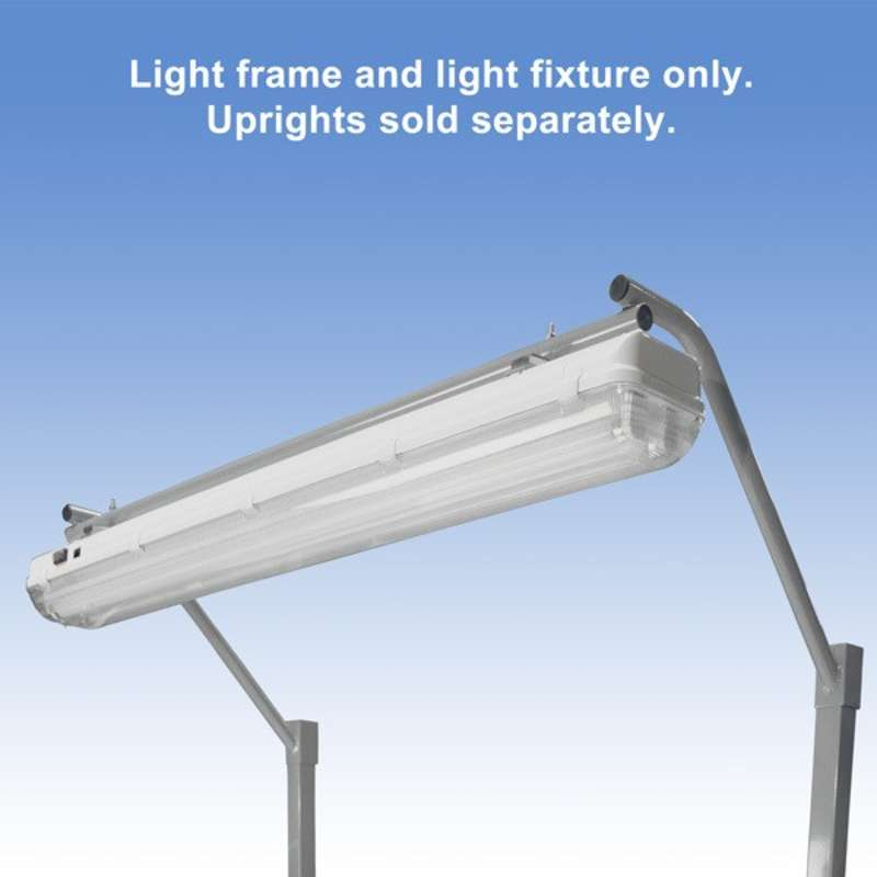 "Overhead Sealed Fluorescent Light Fixture and Light Frame with T8 Bulbs for 48"" or 96"" Chemical Resistant Benches, Grey"