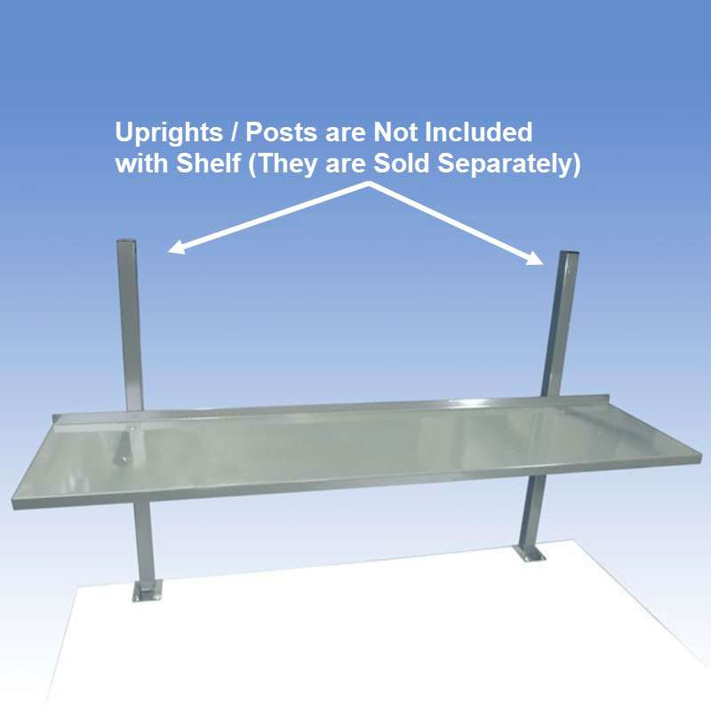 Painted Metal Shelf for Chemical Resistant Benches, Grey, 12 x 60""