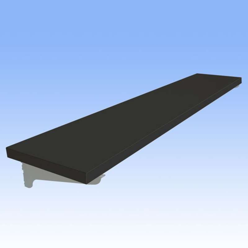 Adjustable Chemical Resistant Phenolic Resin Shelf for All-Spec Heavy Duty Benches, Black, 15 x 72""