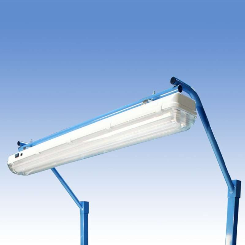 "Overhead Sealed Fluorescent Light Fixture and Light Frame with T8 Bulbs for 48"" or 96"" Heavy Duty Benches, Blue"