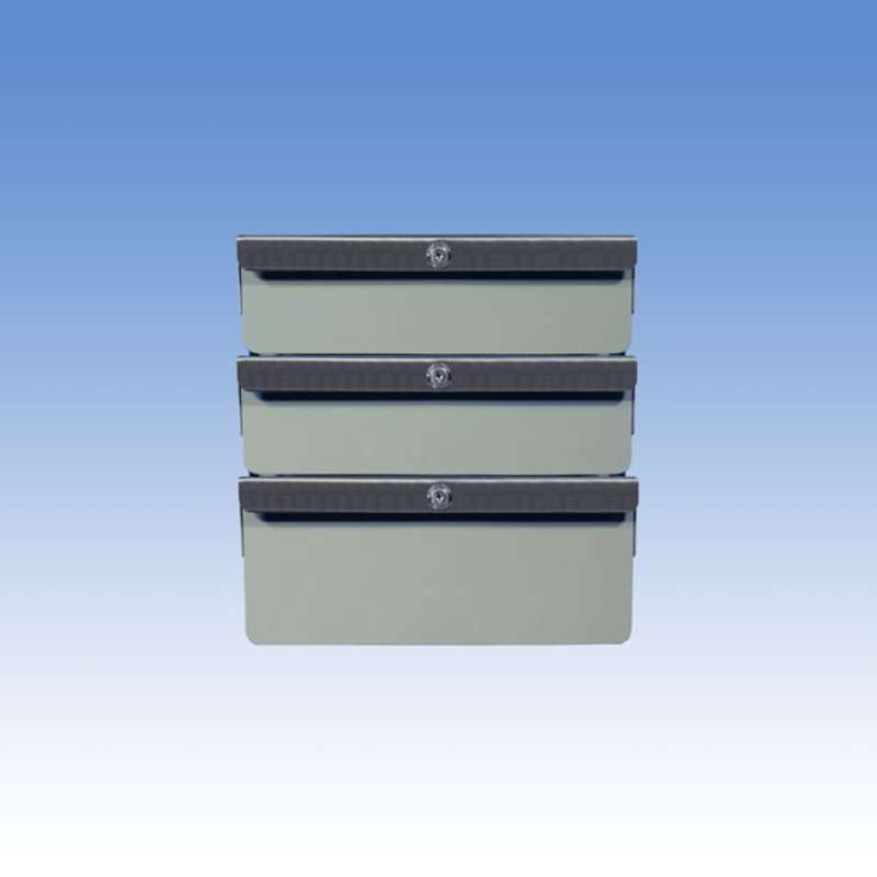 """Triple Stacked 2""""/2""""/4"""" Steel Drawers for All-Spec Heavy-Duty Chemical Resistant Benches, Grey"""