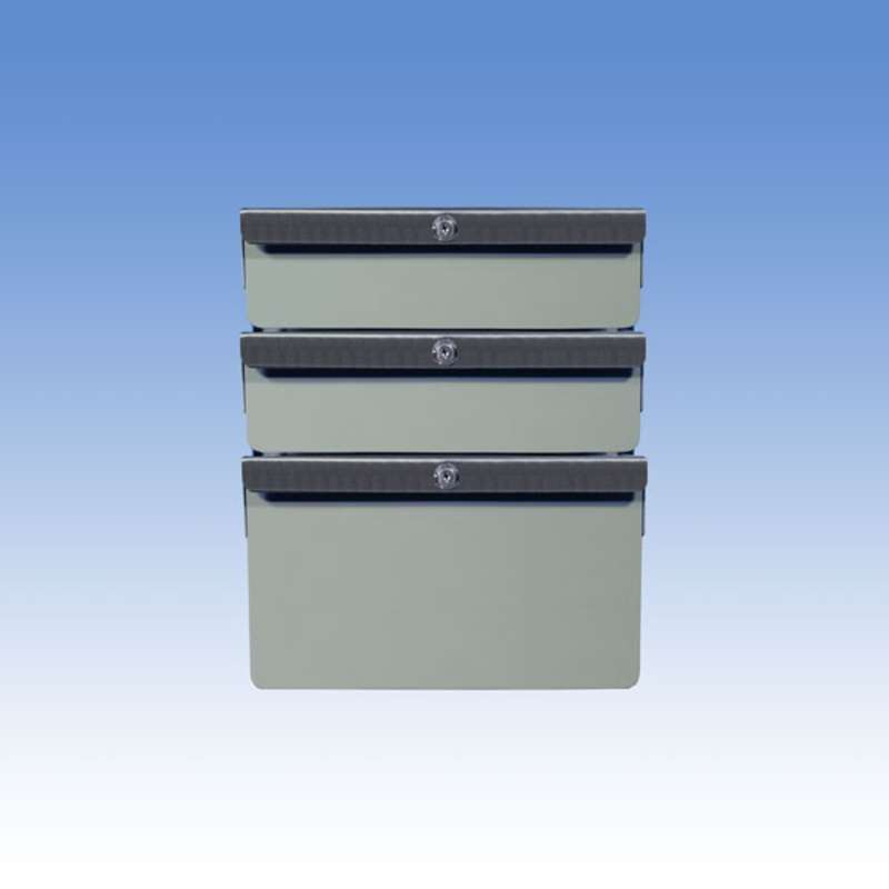 """Triple Stacked 2""""/2""""/6"""" Steel Drawers for All-Spec Heavy-Duty Chemical Resistant Benches, Grey"""