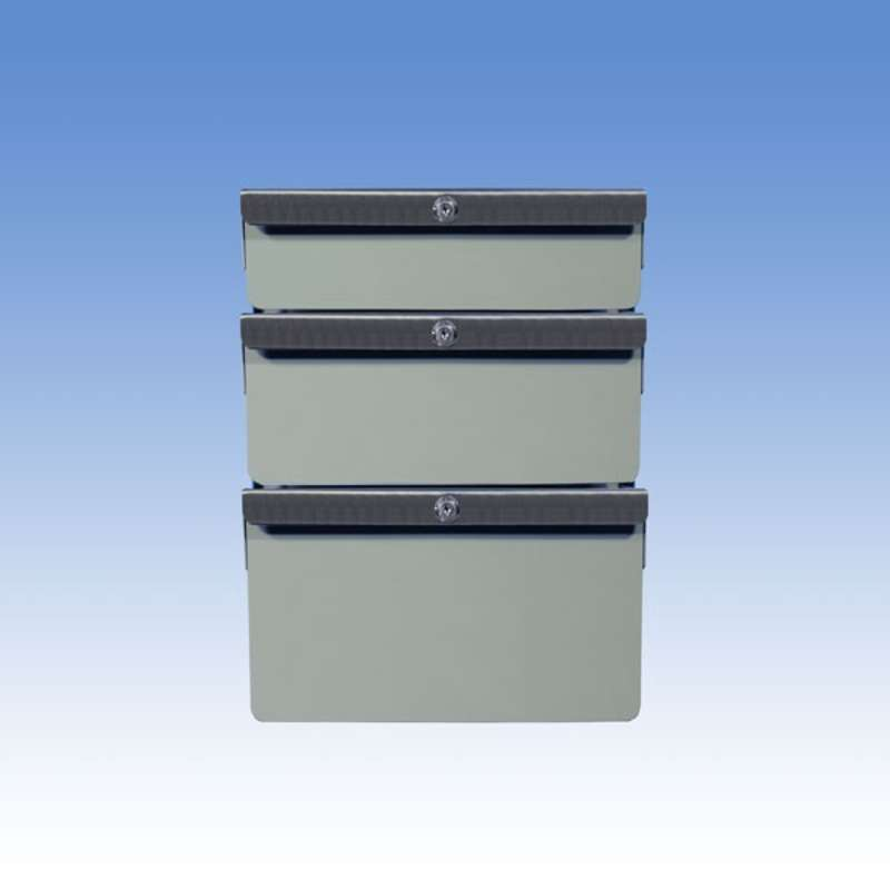 "Triple Stacked 2""/4""/6"" Steel Drawers for All-Spec Heavy-Duty Chemical Resistant Benches, Grey"