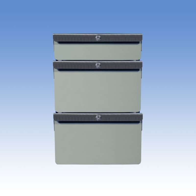 "Triple Stacked 2""/6""/6"" Steel Drawers for All-Spec Heavy-Duty Chemical Resistant Benches, Grey"