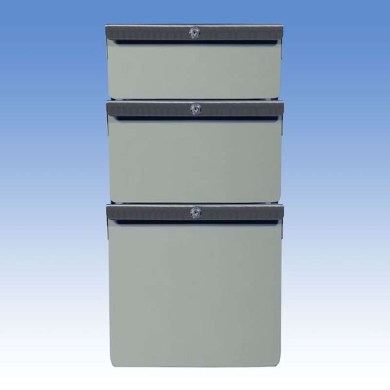 "Triple Stacked 4""/6""/12"" Steel Drawers for All-Spec Heavy-Duty Chemical Resistant Benches, Grey"