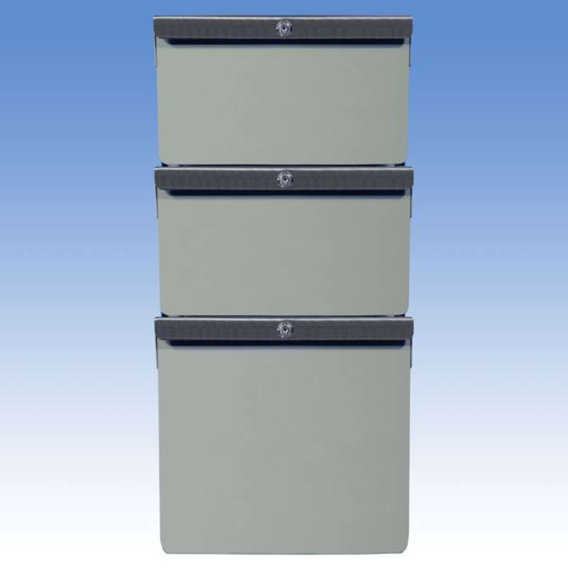 """Triple Stacked 6""""/6""""/12"""" Steel Drawers for All-Spec Heavy-Duty Chemical Resistant Benches, Grey"""