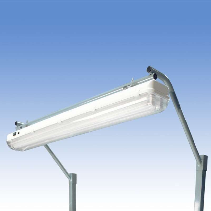 "Overhead Sealed Fluorescent Light Fixture and Light Frame with T8 Bulbs for 72"" Heavy Duty Chemical Resistant Benches, Grey"