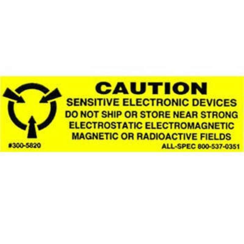 "Label, Yellow/Black 5/8"" x 2"" 1000/Roll ""Caution Sensitive Devices"""