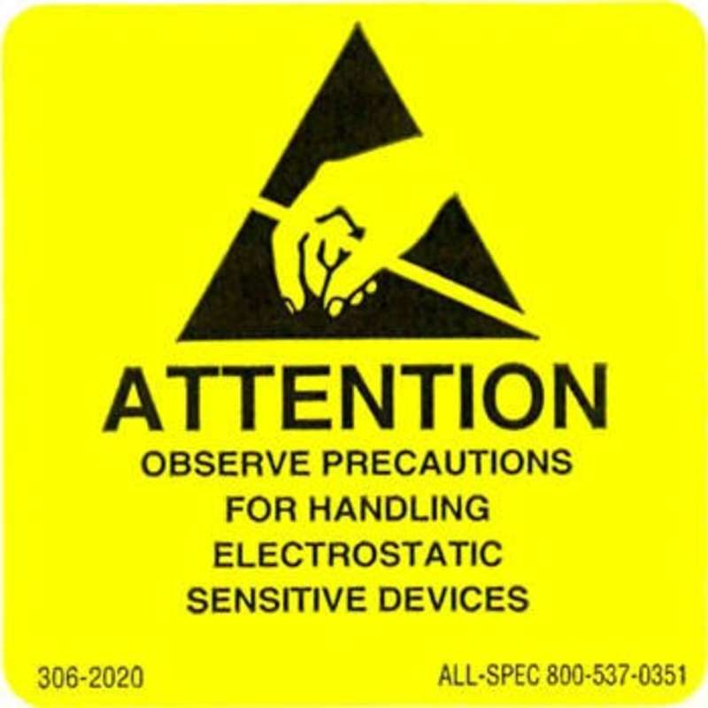 "Label, Yellow/Black 2"" x 2"" 1000/Roll ""Attention Observe Precautions"""