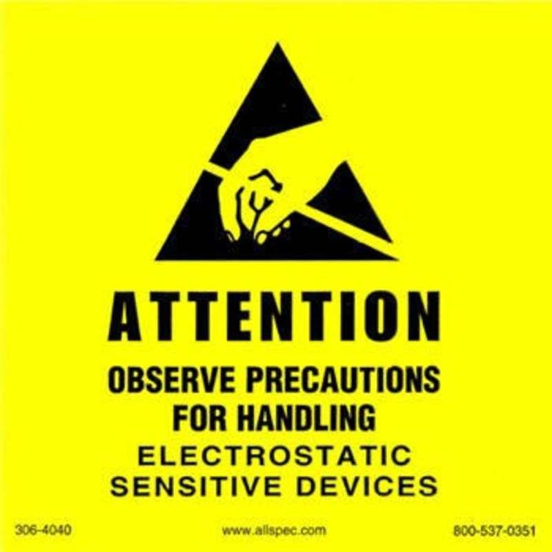 "Label, Yellow/Black 4"" x 4"" 1000/Roll ""Attention Observe Precautions"""
