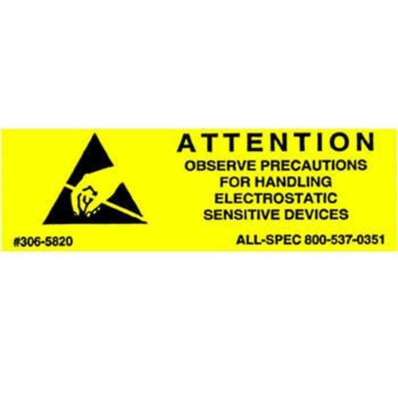 "Label, Yellow/Black 5/8"" x 2"" 1000/Roll ""Attention Observe Precautions"""