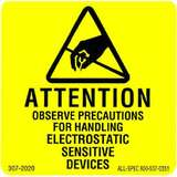 "Label, Yellow/Black 2"" x 2"" 1000 per Roll ""Attention Observe Precautions"""