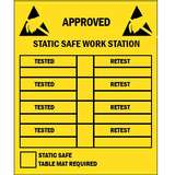 "Label, Yellow/Black 2-1/2"" x 3-1/2"" 250/Roll ""Approved Workstation"""