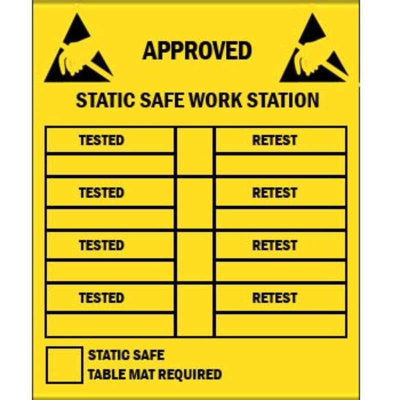"""Label, Yellow/Black 2-1/2"""" x 3-1/2"""" 250/Roll """"Approved Workstation"""""""
