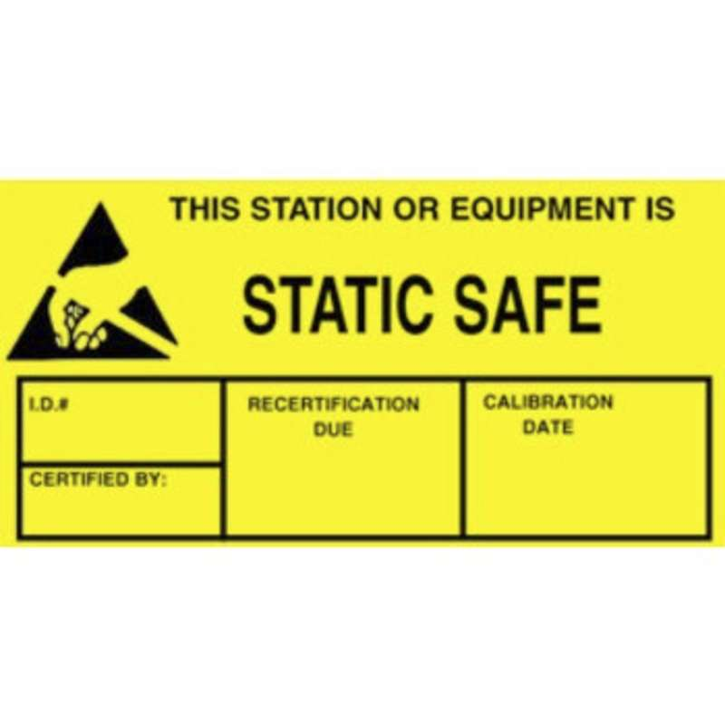 """Label, Yellow/Black 1-3/4"""" x 3"""" 250/Roll """"Static Safe"""""""