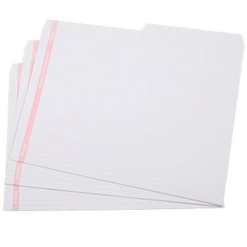 """ESD-Safe White File Folders with Pink Stripe, 9 x 12"""", 25 per Pack"""