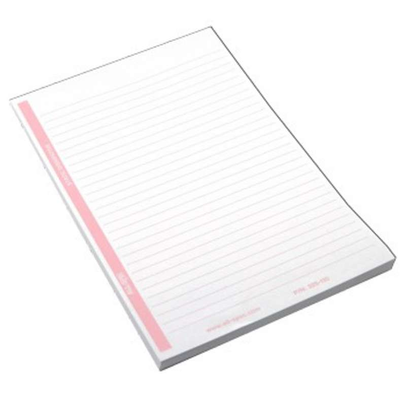 ESD-Safe White and Pink Lined Paper Notepad with Top Glued Edge, 80 Sheets, 5-1/2 x 8-1/2""