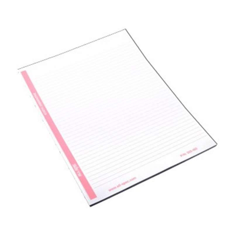 ESD-Safe White and Pink Lined Paper Notepad with Top Glued