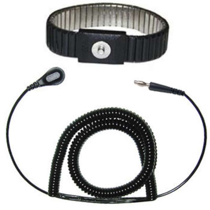 Adjustable Expandable Metal Wrist Strap with 12' Coil Cord, Black