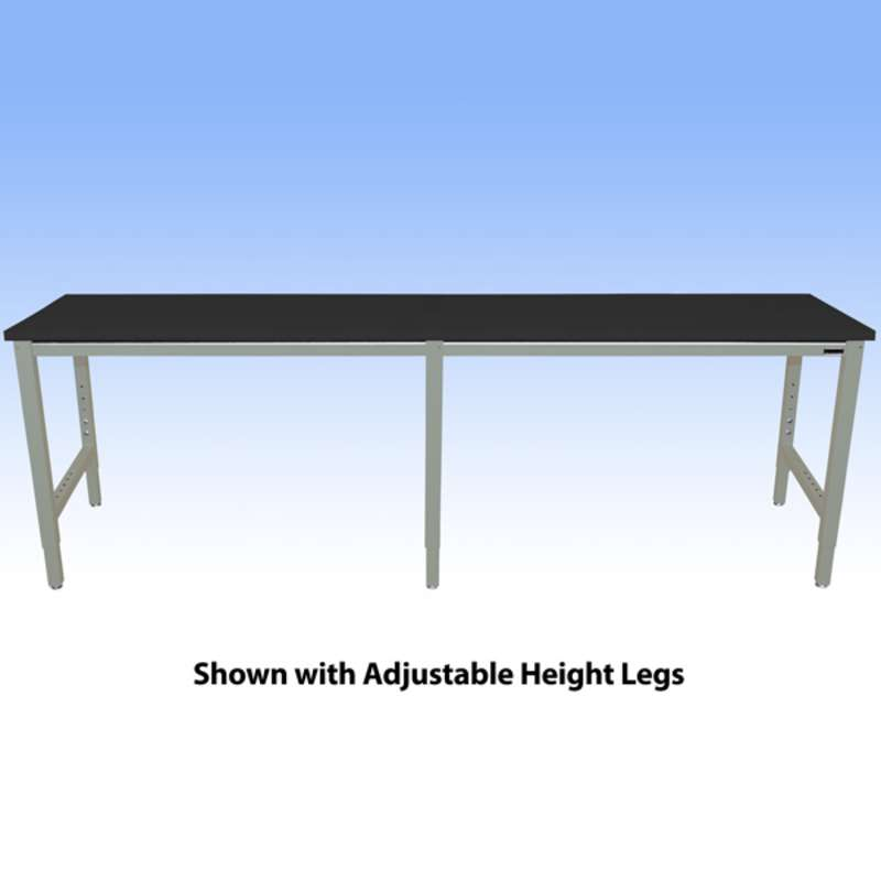 """Fixed Height Heavy Duty Chemical Resistant Phenolic Resin Top Workbench with 5000 lb Weight Capacity, Square Edges and Glides, Black, 24 x 96"""" (Must Specify Height)"""