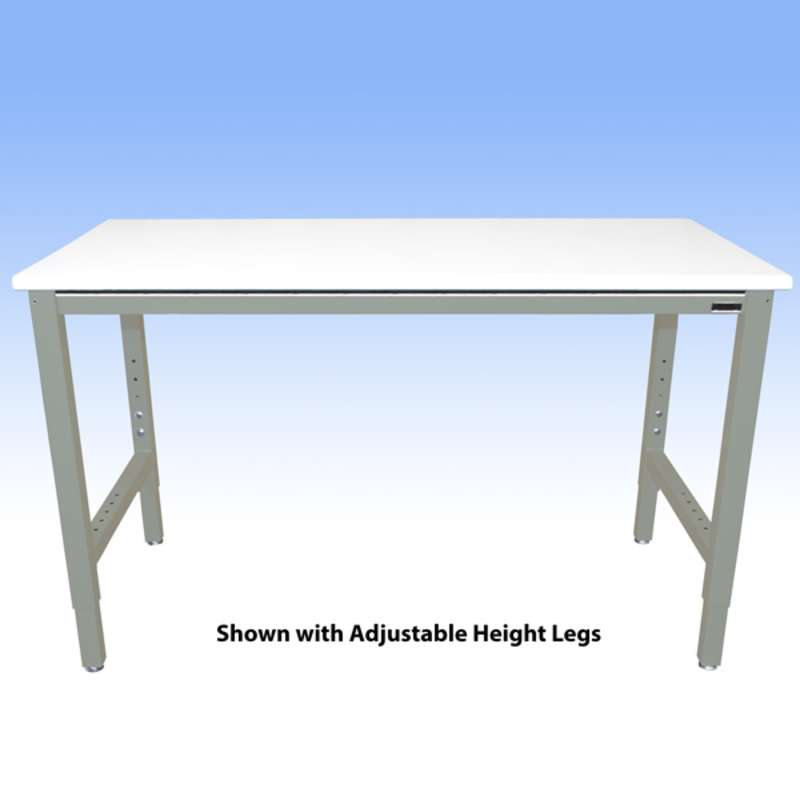 """Fixed Height Heavy Duty Chemical Resistant Phenolic Resin Top Workbench with 5000 lb Weight Capacity, Square Edges and Glides, White, 36 x 72"""" (Must Specify Height)"""