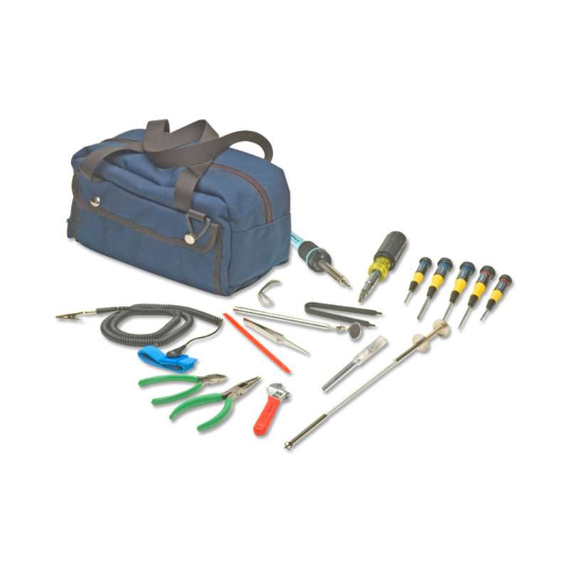 Basic PC Repair Tool Kit with ESD-Safe Wrist Strap and a Water-Resistant Mechanic's Bag, 14 Pieces