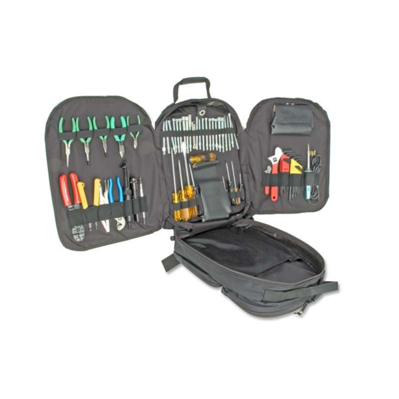 Electronics Technician's Service and Repair Tool Kit in a CORDURA® Backpack Tool Bag, 50 Pieces