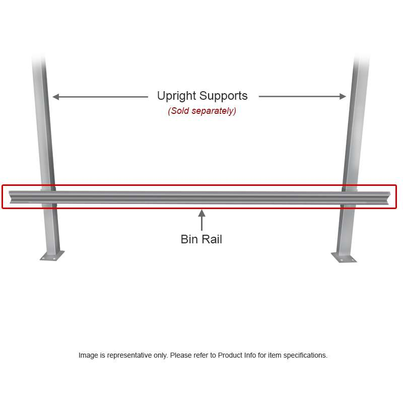"Bin Rail for 48"" and 96"" Benches"