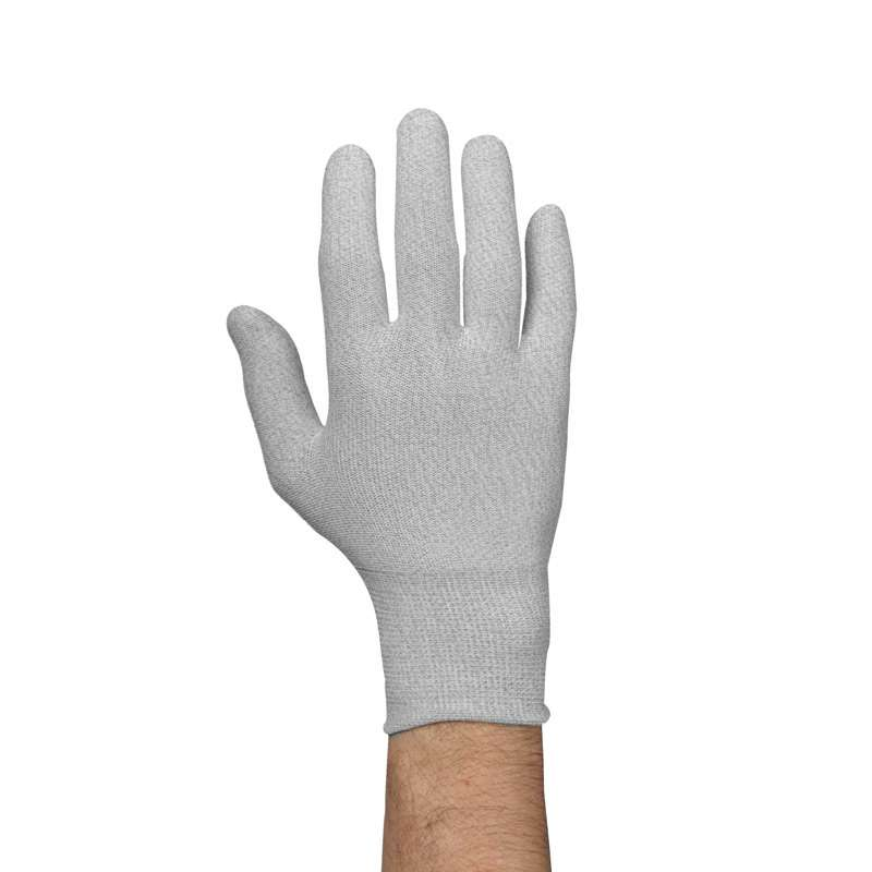 ESD-Safe Low Lint Knit Nylon Gloves, Gray, X-Large, 1-Pair