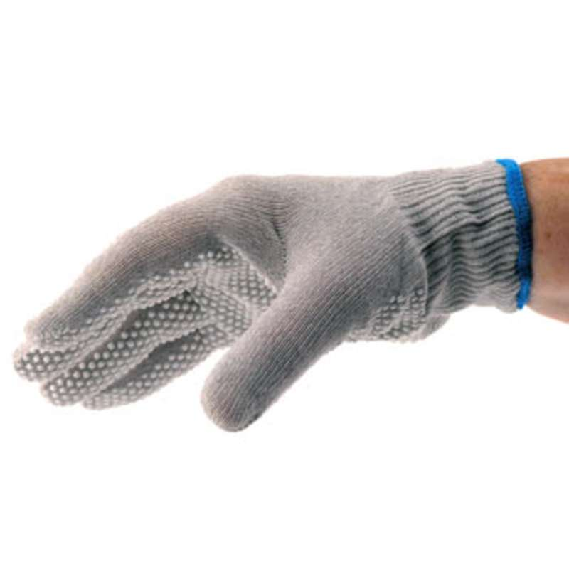 ESD Knit Low Lint Gloves, White PVC Dotted Grip, Large 1 Pair