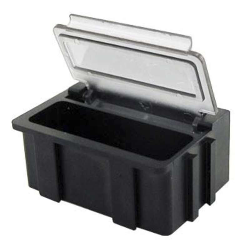 """Conductive Hinged SMD Storage Box with Transparent Lid, 1-1/2 x 1/2 x 19/32"""""""