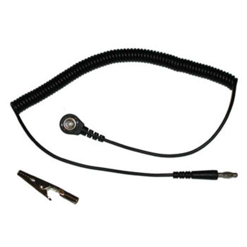 Coil Cord for Wrist Straps with 1 Megohm Resistor and 7mm Sockets, 6' Long