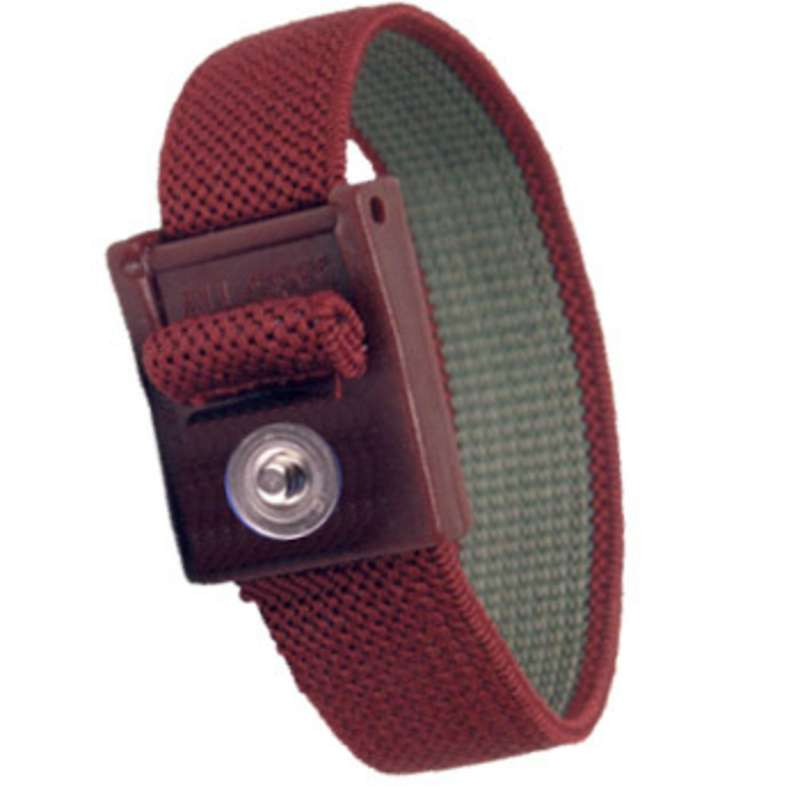 Elastic Adjustable Maroon Wrist Strap with 4mm Snap and No Coil Cord (Band Only)