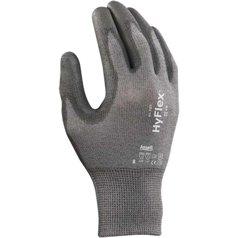 "HyFlex® Powder Free Palm Coated Grey 13 Gauge Polyurethane Glove, X-Large, 9"" Long, 12-Pair per Bag"