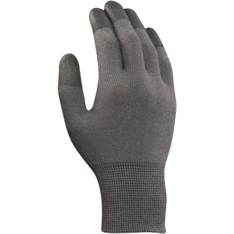 "HyFlex® Touch Screen Capable Fingertip Coated Grey 13 Gauge Polyurethane Glove, Medium, 9"" Long, 12-Pair per Bag"