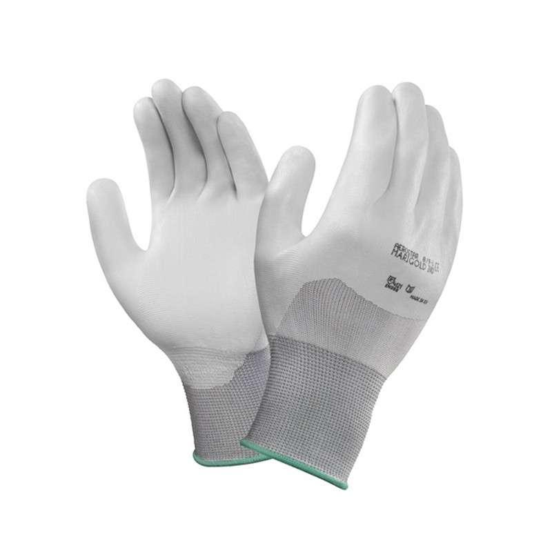 "HyFlex® Powder Free Coated White 13mil Polyurethane/Nitrile Glove, Small, 9"" Long, 12-Pair per Bag"