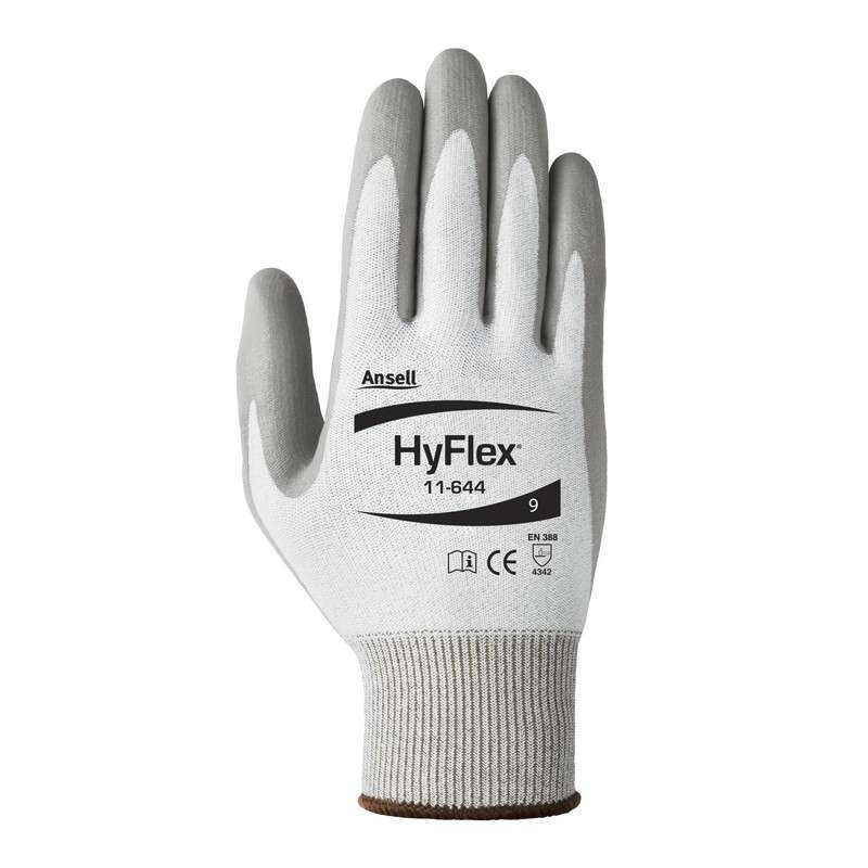 "HyFlex® Polyethylene Powder Free Palm Coated Grey 13 Gauge Polyurethane Glove, X-Large, 9"" Long, 12-Pair per Bag"
