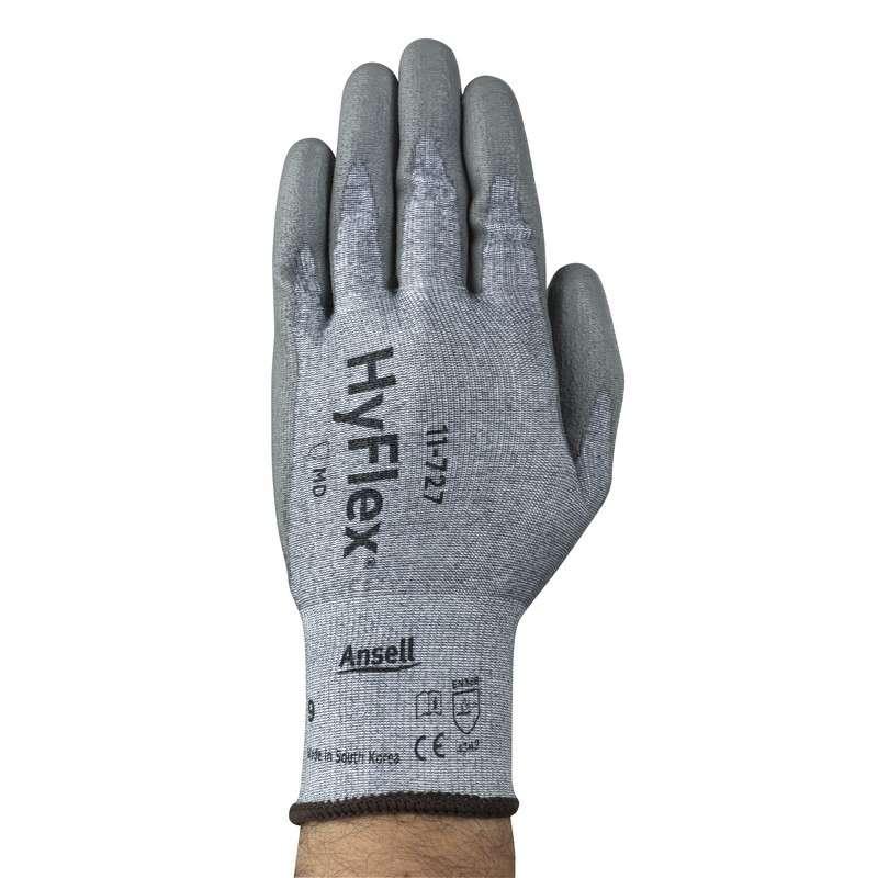 "HyFlex® Powder Free Palm Coated Grey 15 Gauge Polyurethane Glove, Small, 9"" Long, 12-Pair per Bag"
