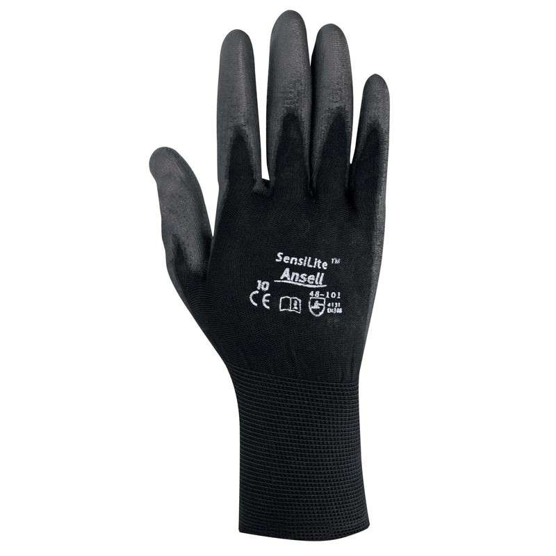 "SensiLite® Palm Coated Black 13 Gauge Polyurethane Nylon Glove, Small, 9"" Long, 12-Pair per Bag"