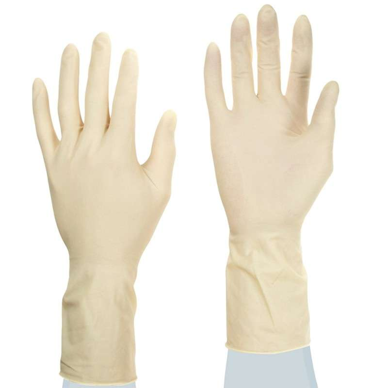 "TouchNTuff® Ultraclean Powder Free Smooth Natural Color 7mil Latex Glove, Small, 11"" Long, 50 per Bag"