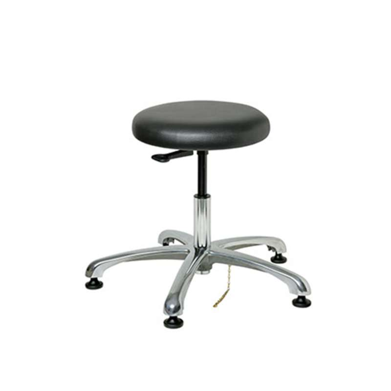 "Versa Upholstered ESD Vinyl Stool, 5-Star Polished Aluminum Base, ESD Dual Wheel Hard Floor Casters, Seat Height Adjustment 22.5""-32.5"""
