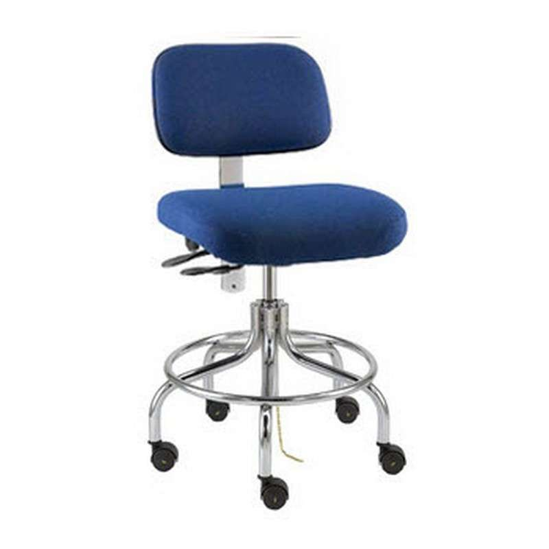 Doral Mid Height ESD Navy Blue Fabric Chair, Articulating Seat & Back Tilt, Chrome Tubular Steel Base with Welded Footring, ESD Dual Wheel Hard Floor Casters