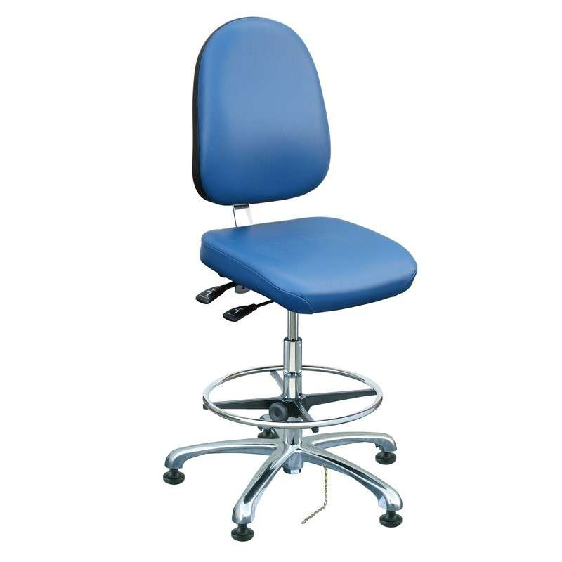 Integra Tall Height ESD Blue Vinyl Chair, Large Back, Articulating Seat & Back, Polished Polished Aluminum Basew with Adjustable Footring, ESD Dual Wheel Hard Floor Casters