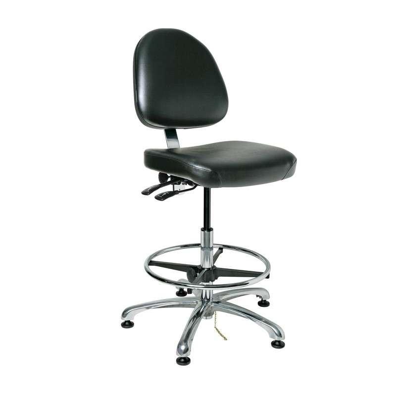 Integra Tall Height ESD Black Viny Chair, Medium Back, Articulating Seat & Back Tilt, Polished Aluminum Base with Adjustable Footring