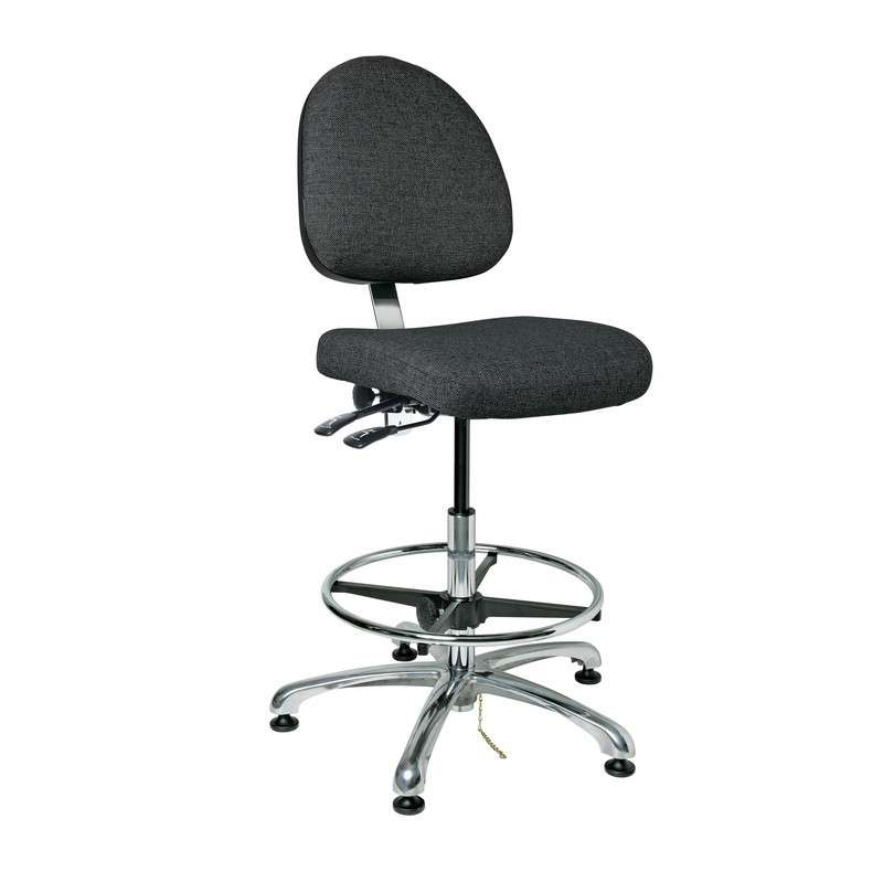 "Integra - E Upholstered ESD Chair, Medium Back, Articulating Seat & Back Tilt, 5-Star Polished Aluminum Base, 20"" Adj. Chrome Footring, ESD Dual Wheel Hard Floor Casters, Seat Height Adjustment 22.5""-32.5"""
