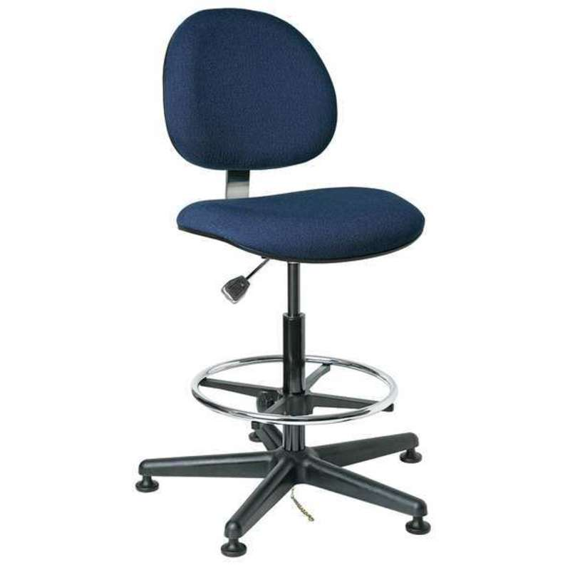 "Lexington-E, Upholstered ESD Navy Chair w/Contoured Backrest, 5-Star Black Nylon Base, 18"" Adj. Chrome Footring, Mushroom Glides, Seat Height Adjustment 20""-27.5"""
