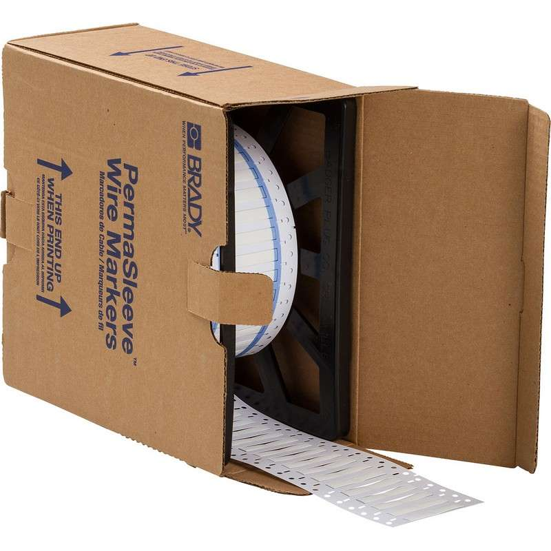 """PermaSleeve™ Heat Shrink Polyolefin White Wire Marking Sleeves, 1 x 0.335"""" 5000 per Roll, Two-Sided Printable"""