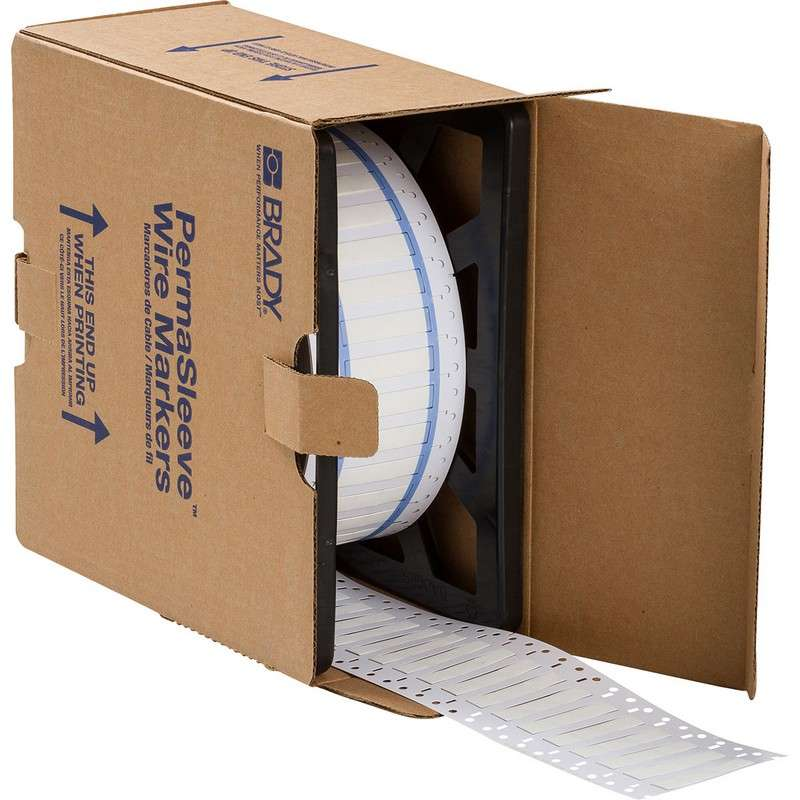 "PermaSleeve? Heat Shrink Polyolefin White Wire Marking Sleeves, .667 x 0.439"" 2500 per Roll, Two-Sid"
